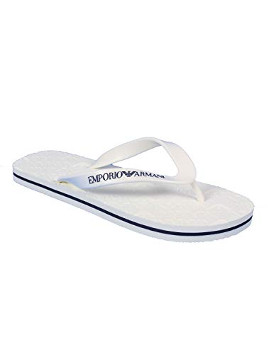 Emporio Armani Herren Designer Flip Flop Slipper, weiß, 45 EU