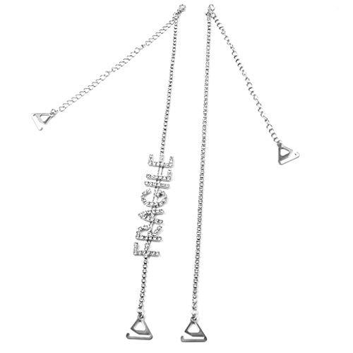 Yanhonin - Tirantes de sujetador con letras de estrás, ajustables plata Small
