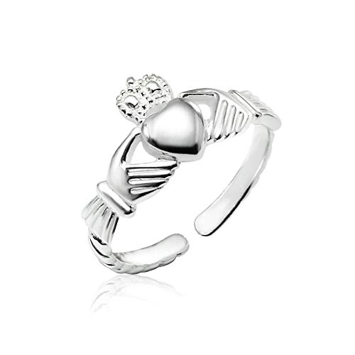 Big Apple Hoops - High Polished Real 925 Sterling Silver Irish Celtic Love Heart Claddagh Adjustable Toe Ring for Finger, Knuckle, Midi, Pinky or Toe