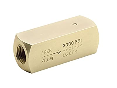 Check Valve, Brass, 1/4-18, 5 GPM, 2000 PSI from PARKER
