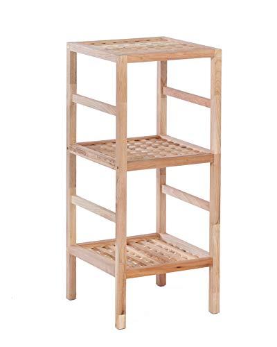 ts-ideen Regal Standregal Hochregal 85 cm aus Walnuss Massivholz für Bad, Wohnzimmer, Sauna, Flur, Diele, Küche, Büro und Kinderzimmer