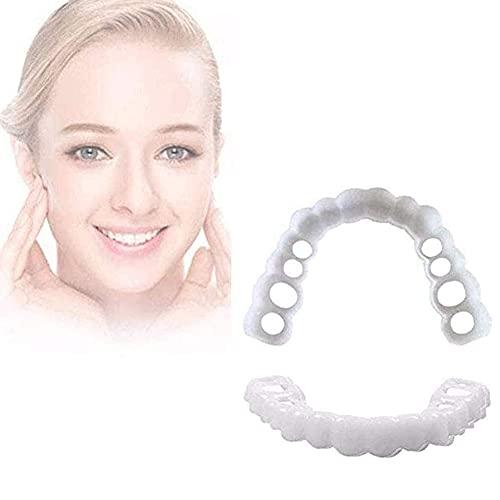 CKAN Carillas Dentales CosméTicos Flexibles Los Dientes De La Sonrisa Silicona Se Encajan En Las Superior Inferior Segura, 4 Piezas