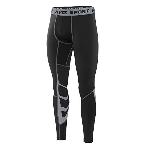 AMZSPORT Herren Fitness Hose Pro Cool Compression Tights Funktionswäsche Pants,Schwarz, M