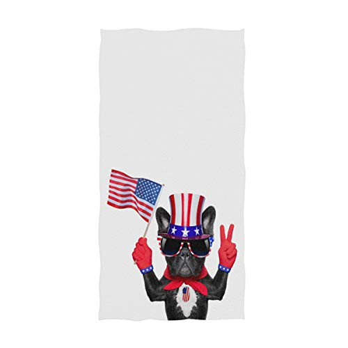 Naanle 3D Cute French Bulldog Waving USA Flag Peace Fingers Independence Day 4th July Soft Large Hand Towels for Bathroom, Hotel, Gym and Spa (16' x 30',White)