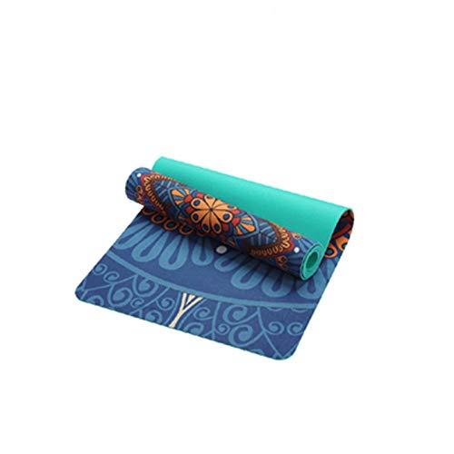 Yuan Ou Esterilla Yoga 6 mm patrón de Gamuza TPE Esterilla de Yoga Almohadilla Antideslizante para Adelgazar Ejercicio Fitness Gimnasia Esterilla para Culturismo Esterilla Pilates Azul