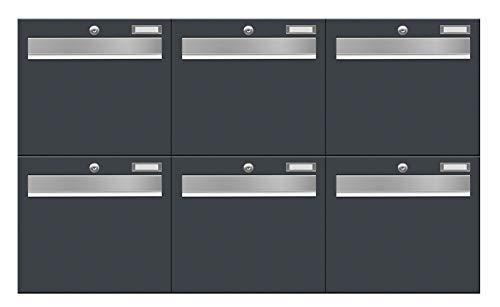 6-Fach Briefkastenanlage LUIS von Frabox® in RAL 7016 anthrazitgrau - super Regenschutz & langlebig