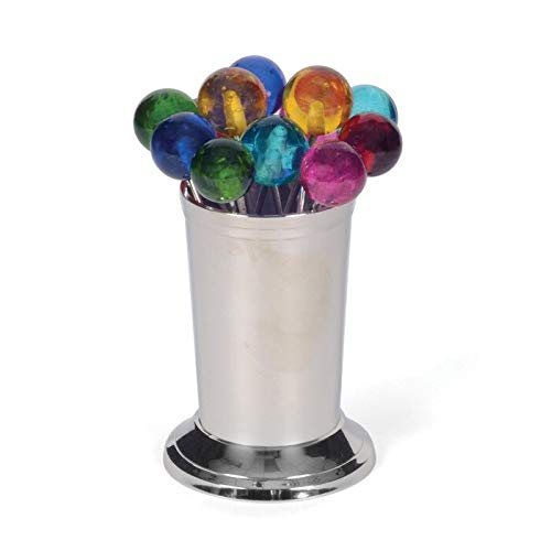 Find Discount Polished Nickel and Multicolor Party Picks (Set of 12) Multi Color Silver Glass Metal ...