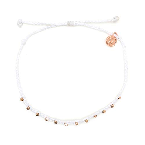 Pura Vida Rose Gold Stitched Beaded Anklet White - Waterproof, Artisan Handmade, Adjustable, Threaded, Fashion Jewelry for Girls/Women