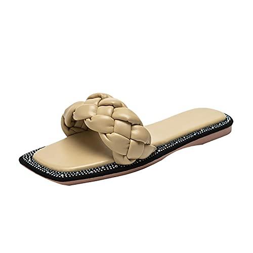 Sandalias Planas Trenzadas Para Mujer, Sandalias Cuadradas Con Punta Abierta, Correa Deslizante, Deslizamiento En Mulas Informales, Deslizadores, Zapatillas, Zapatos De Playa Vacaciones,Amaril