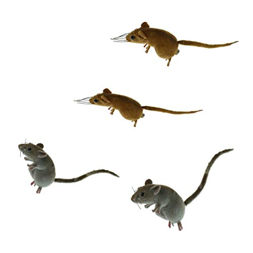 Fityle 4 x Funny Handcraft Clay Realistic Mouse Statue Home Ornament Creative Toy Gifts Random Color