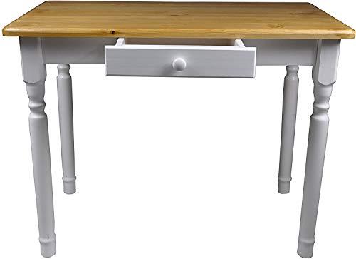 Magnetic Mobel Esstisch mit Schublade Küchentisch Tisch Massiv Kiefer Speisetisch massiv (60x120 cm, Erle)