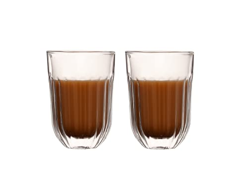 360ML/12.17oz-Set of 2pcs Infusion Flower Design Double Wall Coffee Mug,Double Walled Thermo Espresso Glass Cup, Insulated Coffee Mugs, Drinking Cup