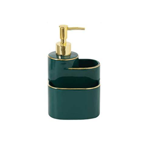 Tvålpump Multifunktionell Tvålpump, keramik Soap Pump Kitchen Sink Bänkskiva Storage Box Soap städredskap 290 ml / 9.8OZ Duschautomat (Color : Green)