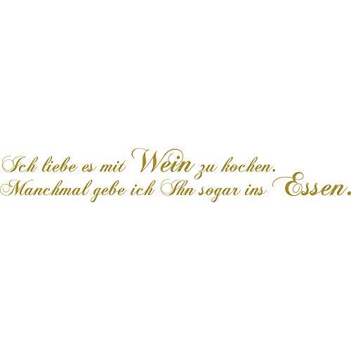 denoda® Ik houd ervan met wijn te koken. - Muursticker ~ in 30 kleuren / 4 maten naar keuze/handgemaakt in Duitsland ~ (wandsticker wanddecoratie woondeco woonkamer kinderkamer)