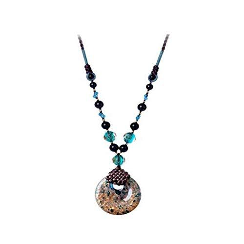 Collar de accesorios con colgante de suéter clásico de cristal, adecuado para accesorios de mujer, longitud estándar 75 cm (color: natural, tamaño: 75 cm)