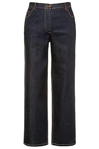 Ulla Popken Damen Mary, weites Bein, 5-Pocket, Komfortbund Flared Jeans, Blau (Dark Denim 93), (Herstellergröße:48)