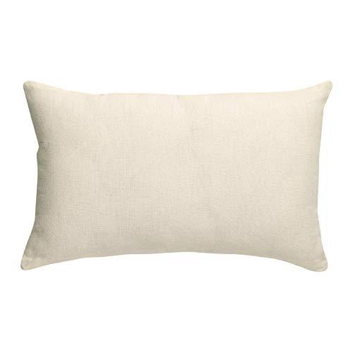 Vivaraise - Coussin Zeff avec garnissage – Taie d'oreiller Lavable - Housse Amovible 100% Coton – Recto en Lin, Verso en Coton