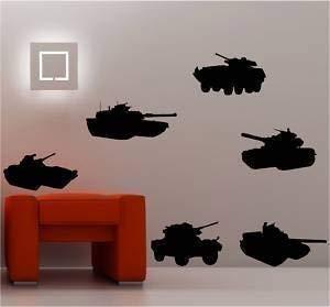 Online Design X 6 Tanks Militaire Enfants Art Mural Autocollant Vinyle - Vert Forêt