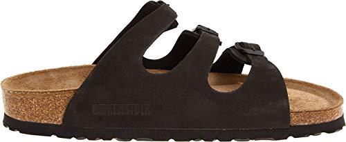 Birkenstock Florida Leder Sandale, Schwarz (schwarz Nubuk), 38 EU