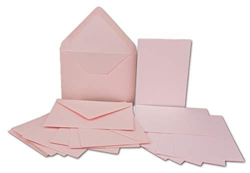 50x Stück Karte-Umschlag-Set Einzel-Karten Din A7 10,5x7,3 cm 240 g/m² Rosa mit Brief-Umschlägen C7 Nassklebung ideale Geschenkanhänger