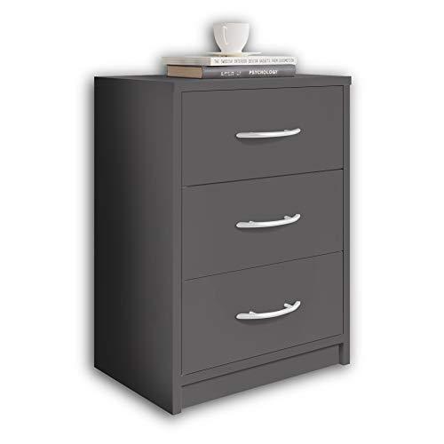 Stella Trading PEPE Nachttisch Graphit - Schlichter Nachtschrank mit drei Schubladen passend zu jedem Bett & Schlafzimmer - 39 x 54 x 28 cm (B/H/T)