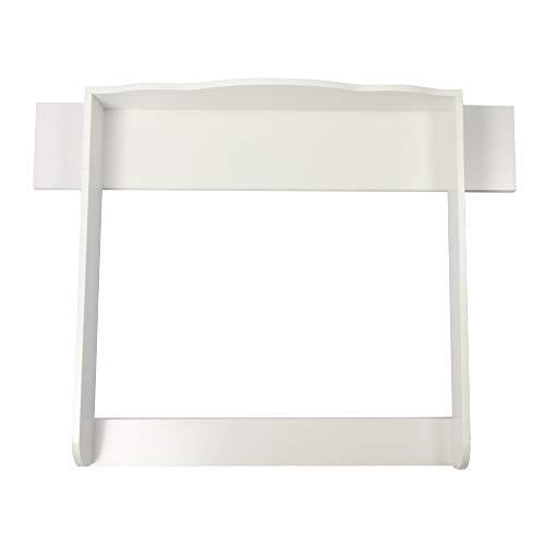 Puckdaddy Wickelaufsatz mit Blende Linus – 108x80x15 cm, Wickelauflage aus Holz in Weiß, hochwertiger Wickeltischaufsatz passend für Kommoden, inkl. Wandbefestigung