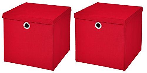 StickandShine 2er Set Rot Faltbox 28 x 28 x 28 cm Aufbewahrungsbox faltbar mit Deckel