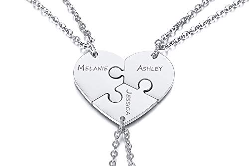 PJ JEWELLERY Personalised Stainless Steel Initial Name Heart Puzzle...