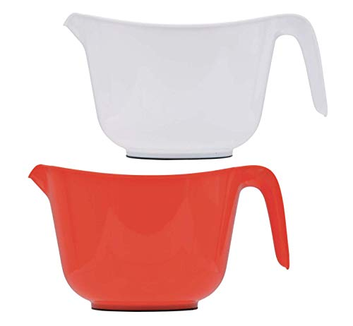Osnell Lights USA Mixing Bowls for Kitchen - Plastic Mixing Bowls with Handles 2.5 Qt - Ideal for Mixing up Cakes, Mixing Sauces and Dips, for Food Prep & More - Set of 4