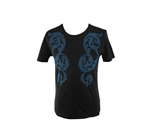 Versace Collection Embossed Pattern Cotton T-Shirt (Large )