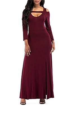 ONLYSHE Women's V Neck Short Sleeve Cold Shoulder Full Length Maxi Formal Party Dress