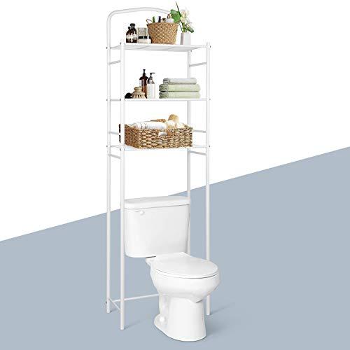 Amzdeal Bagno toilette scaffale a terra a 3 ripiani 49 x 25 x 160 cm per Mensole bagno salvaspazio,Scaffale bianco per, Mobili bagno a terra multifunzionale
