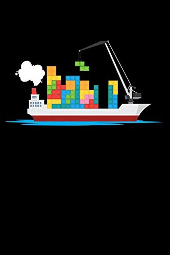Journal: Cargo Ship Blocks Boys Toy Ship Black Lined Notebook Writing Diary - 120 Pages 6 x 9