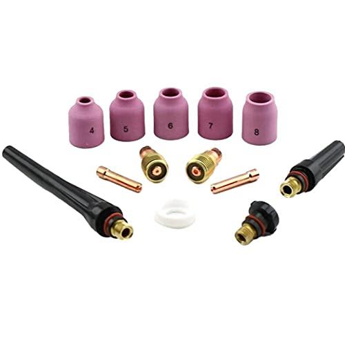 Surtido de Clip eléctrico, 13 PCS WP17 / 18/26 TIG Soldadura Soldador sobre EL Juego DE LA LENCIÓN DE Gas Kit DE ALIMIENTO Kit DE ALIMIENTO Suministros de Kit (1.6mm + 2.4mm)