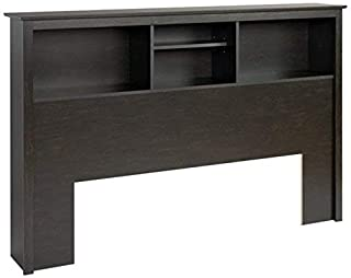 Prepac Twin Bookcase Headboard, Full/Queen, Washed Black