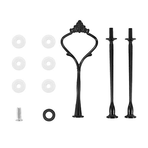 Xinzi Cake Plate Stand Supplies,Cake Plate Rack Party Supplies,3 Tier No Plate Cupcake Kitchen Hardware Rod Cakes Desserts Handle Fitting(Black)