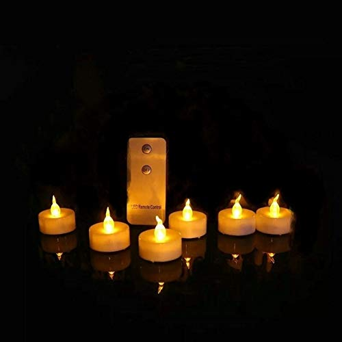 Bright 36pcs Remote Controlled Battery Operated LED Candle w/Controller Flickering flameless Votive tealight lamp Wedding Birthday Xmas Flickering (Color : Amber)