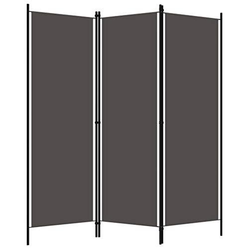 pedkit Biombo Divisor Biombos de Dormitorio Privacidad de jardín y Pantallas Protectoras Toldos para Patio de 3 Paneles Gris Antracita 150x180 cm