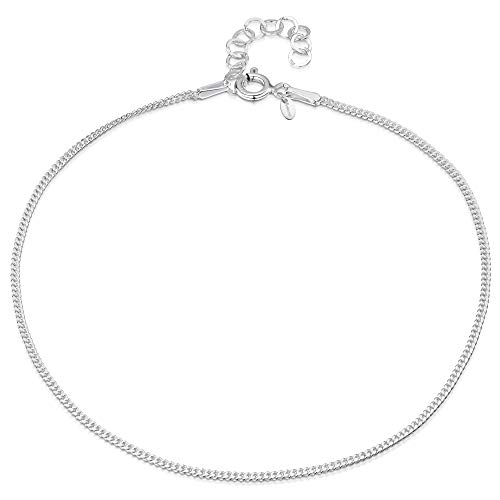 Amberta 925 Fina Plata de ley - Brazalete de Tobillo - 1,5 mm Pulsera de Frenar - 22 a 25,5 cm - Ajuste Flexible