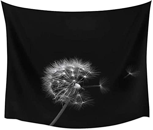 Tapiz Para Colgar En La Pared, Diseño De Flor De Diente De León Volando Pétalos Mullidos Fondo Negro Decoración De La Pared Del Hogar Playa Picnic Esterilla De Yoga Mandala Hippie 150 X 200 Cm