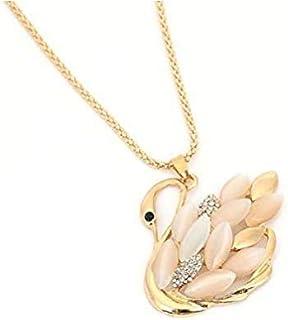 Fashion Women Opal Swan Charm Pendant Long Chain Necklace MY#8F