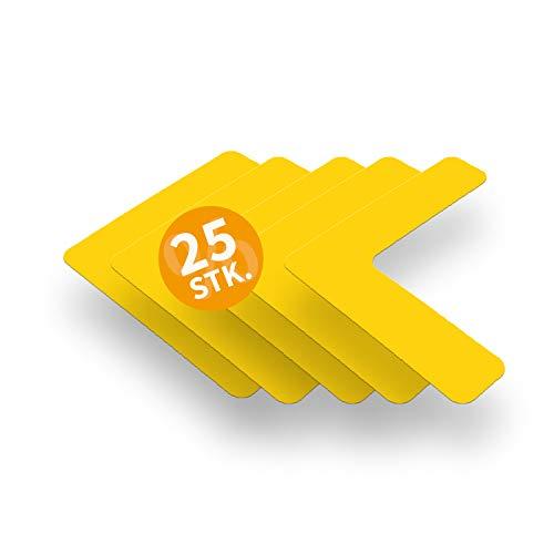 Betriebsausstattung24 Stellplatzmarkierung zur Lagerplatzkennzeichnug | TYP L-Stück | PVC selbstklebend | sofort befahrbar | 25 Stück (VE) (5,0/20,0 x 20,0, gelb)