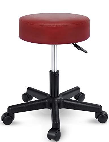 TRESKO Taburete con ruedas taburete giratorio cosmético de trabajo consulta, regulable en altura, giratorio en 360°, con asiento acolchado de 10 cm y 8 variantes de colores (Borgoña)
