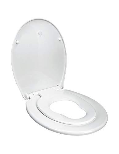 Euroshowers Toilettendeckel Kinder und Erwachsene mit integriertem Kindersitz, Absenkautomatik Funktion, abnehmbar zur Reinigung, Befestigung von oben, WC Sitz Kinder, weiß