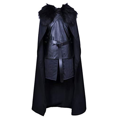 QWEASZER Juego de Tronos Cosplay televisión Disfraces para la Nieve Jon Vestido Cuero Halloween Medieval Rey Caballero Guerrero Traje Completo,Black- 183~187cm