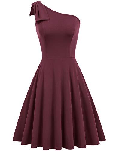 JASAMBAC Damen Schleife One Shoulder Kleid mit Taschen A-Linie Cocktail Party Kleid, weinrot, Klein