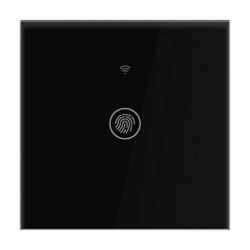 Caiqinlen Interruptor táctil de Pared, Interruptor WiFi de Panel de Vidrio Templado (Black Cover 1 Road)