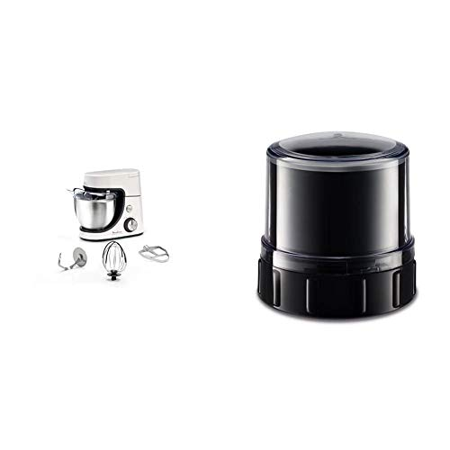 Moulinex Masterchef Gourmet Robot Pâtissier 1100W et 8 Vitesses Fonction Pulse Bol Inox 4.6L Kit Blanc & Moulinex Mini Hachoir XF635BB1 Accessoire Masterchef Gourmet Officiel