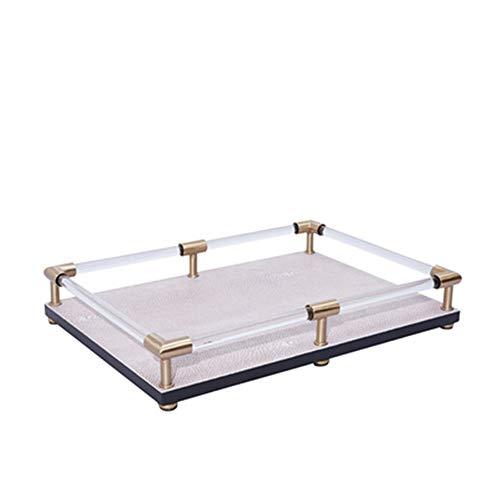 Bandeja de Servir Metal Acrílico Bandeja rectangular de cocina Mesa de la decoración del hogar moderno minimalista Placa del desayuno para la Decoración del Hogar ( Color : Beige , Size : 35x25x5cm )