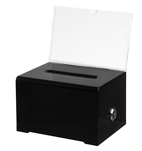 "AdirOffice-637 Acrylic Donation & Ballot Box with Lock (6.25"" x 4.5"" x 4"") - Black"